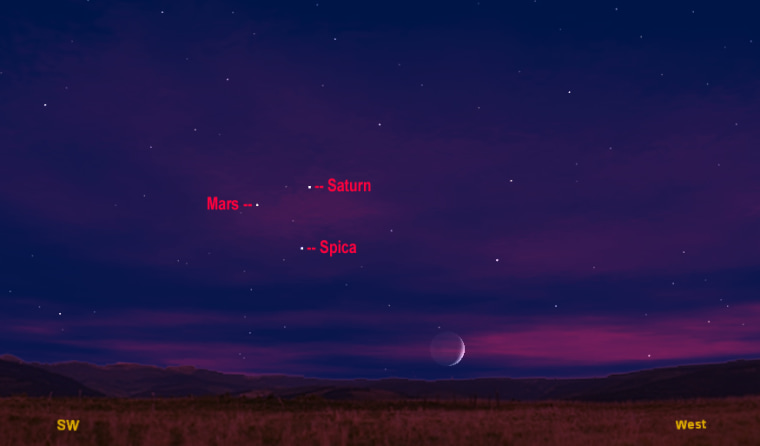 This sky map shows how Saturn, Mars and the bright star Spica will form a sky triangle on Monday night. This map shows their location with the moon at 8:30 p.m. local time from midnorthern latitudes.