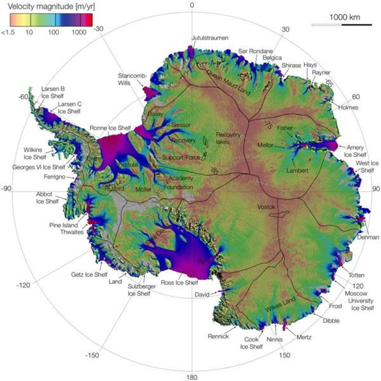 Antarctic ice flow speeds are derived from satellite data.