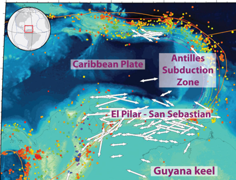 The image shows how the Caribbean plate is pushed to the east relative to the South American plate, causing the Caribbean Islands' distinctive arc shape.