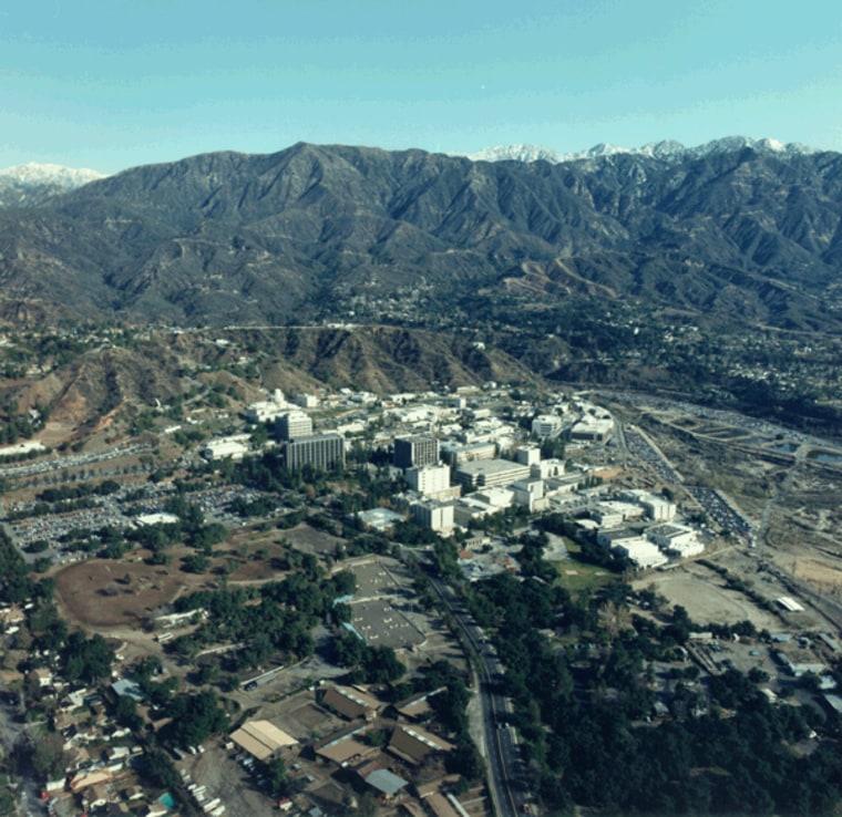 An aerial view of NASA's Jet Propulsion Laboratory in Pasadena, Calif.