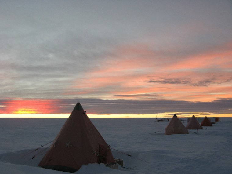 The camp set up by researchers collecting an ice core from a mountain on James Ross Island off the northeastern tip of the Antarctic Peninsula.