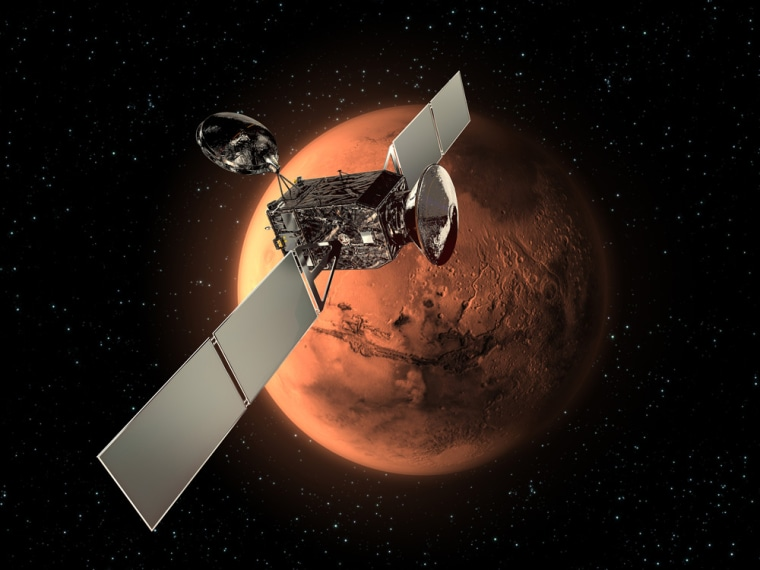 The ExoMars Trace Gas Orbiter, along with an Entry, Descent and Landing Demonstrator Module (EDM), form the first mission in the European-led ExoMars program. The Orbiter and EDM are scheduled to arrive at Mars in 2016. This image shows the Orbiter and the EDM in cruise configuration.