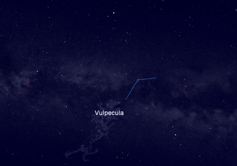 This night sky map shows the location of the constellation Vulpecula, the Little Fox, home to Brocchi's Cluster, a star cluster visible in binoculars and small telescopes. The constellation is visible in the east-southeast night sky between stars Vega and Altair.