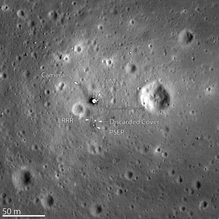 The Lunar Reconnaissance Orbiter Camera snapped its best look yet of the Apollo 11 landing site on the moon. The image, which was released this March 7, even shows the remnants of Neil Armstrong and Buzz Aldrin's historic first steps on the surface around the Lunar Module.