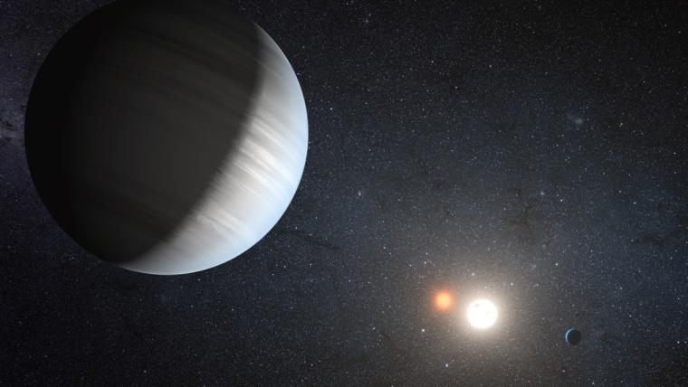 Image: Artist's illustration of the alien solar system Kepler-47