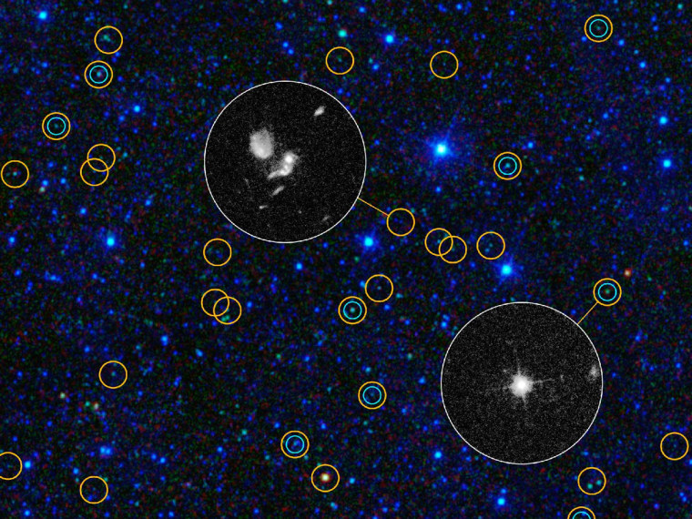 This zoomed-in view of a portion of the all-sky survey from WISE shows a collection of quasar candidates.