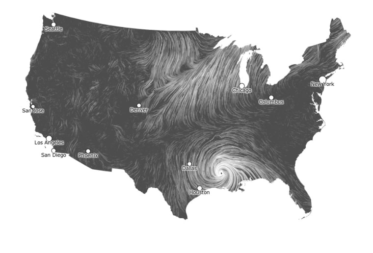 Two data-visualization experts made this map, showing Isaac's winds near New Orleans on Thursday. Thicker lines indicate stronger winds.