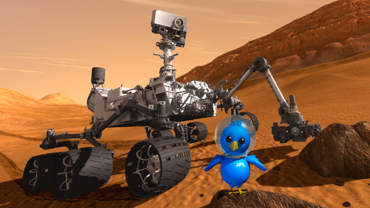 This artist concept features NASA's Mars rover Curiosity along with an illustrated astronaut bird.