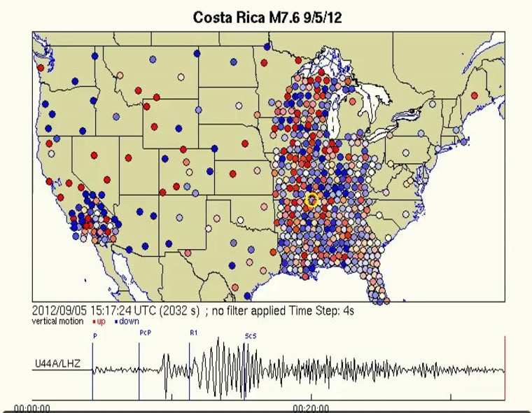 A screen capture of an animation that shows waves from the Costa Rican earthquake rattling the Earth beneath the U.S. Blue means downward ground motion while red represents upward ground motion with the darker colors indicating larger amplitude.
