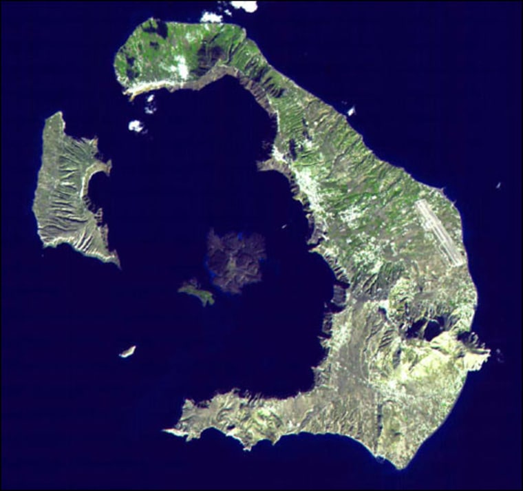 Santorini Volcano in the Aegean Sea, seen in this NASA satellite image, was the site of one of the largest eruptions in the last 10,000 years. The explosion of the volcano removed so much magma from below the Earth that the volcano collapsed, producing a large crater, or caldera.