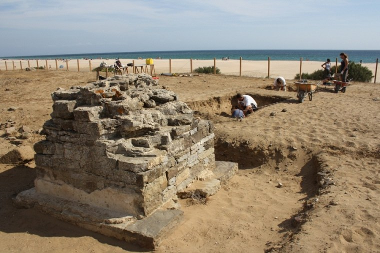A team digs for beachside buried treasure in trenches at Baelo Claudia.