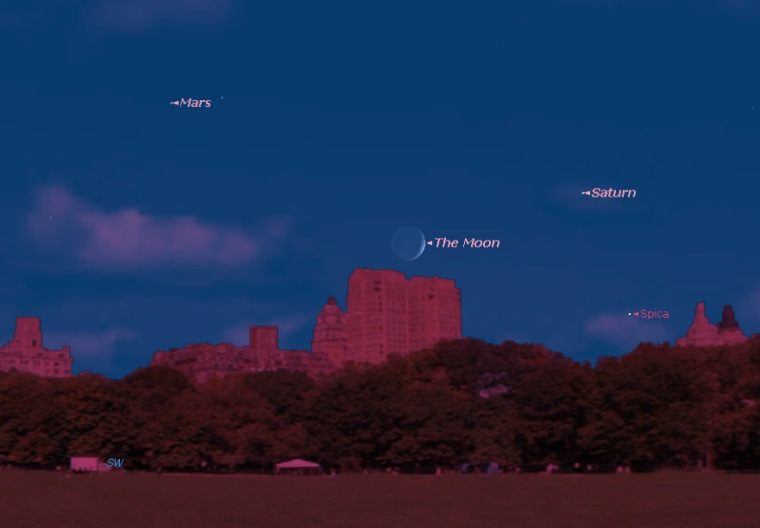 This sky map shows the location of Saturn, as well as the moon, Mars and bright star Spica, as they will appear at about 7:15 p.m. to observers on Monday night in mid-northern latitudes.