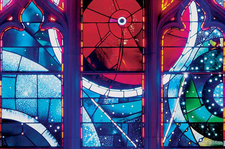 """The """"Space Window"""" at Washington National Cathedral features a moon rock returned to Earth by Neil Armstrong and his Apollo 11 crew. The cathedral hosted a memorial service for Armstrong on Sept. 13, 2012 to mark the passing of the first moonwalker."""