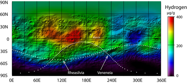 Data acquired by the Gamma Ray and Neutron Detector (GRAND) on board the NASA Dawn spacecraft have been analyzed to determine the distribution of hydrogen on the giant asteroid Vesta.