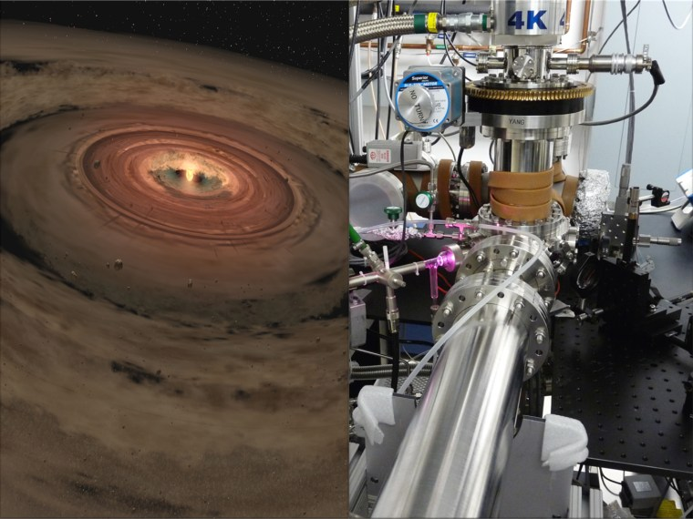 Scientists are brewing up icy, organic concoctions in the lab to mimic materials at the edge of our solar system and beyond. At right: the lab equipment used to create the organic molecules at NASA's Jet Propulsion Laboratory. At left: An artist's illustration of a planet-forming disk.