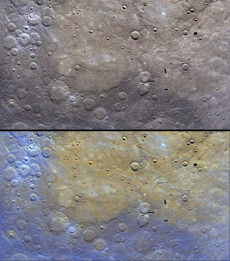 These image of Mercury by NASA's Messenger probe show the distinctive color of the planet's northern plains and their surrounding terrain. The top image is as Messenger saw the scene, with the bottom image enhanced to bring out features.