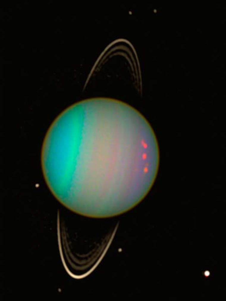 Uranus' tilt essentially has it orbiting the sun on its side, the axis of its spin nearly pointing at the sun.