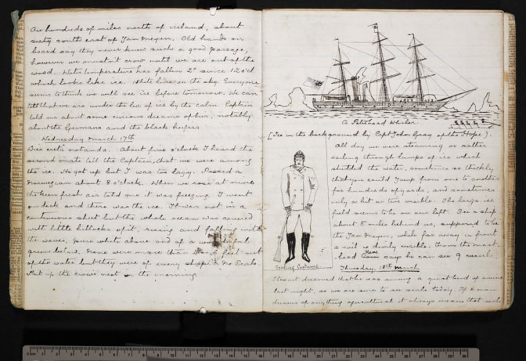 Prose and drawings from the journal of Sir Arthur Conan Doyle, jotted down during his time as a surgeon aboard the whaling vessel Hope in 1880. His journal was published on Wednesday.