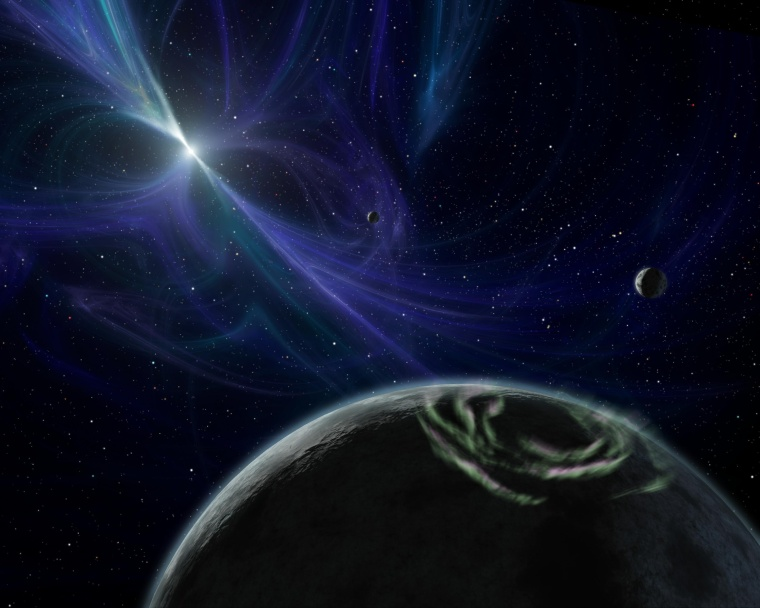 Image: Artist's impression shows planetary system around pulsar PSR B1257+12