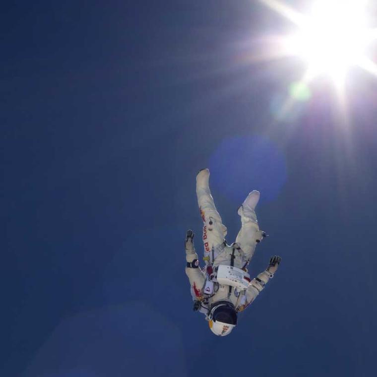Felix Baumgartner freefalls during a high altitude test jumps in Taft, Calif., on June 21.