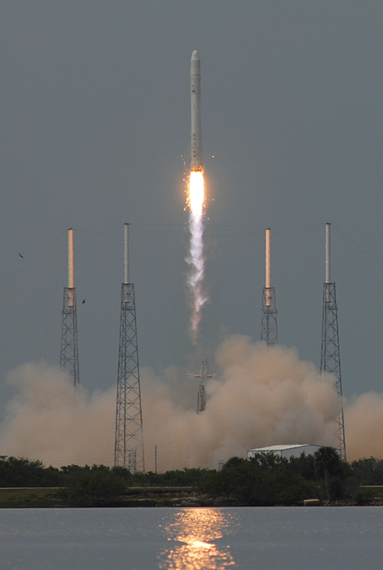 Launch photographer Ben Cooper captured this photo of the SpaceX Falcon 9 rocket making its maiden flight June 4, 2010 from Cape Canaveral, Fla.