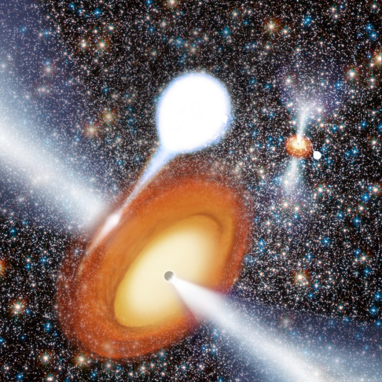 An artist's conception of a black hole in globular cluster.