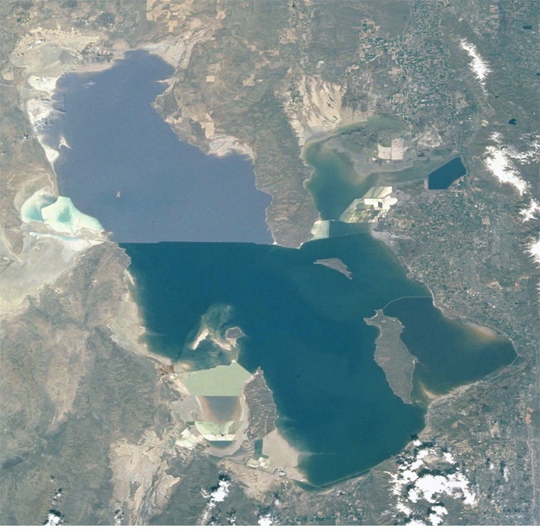 The Great Salt Lake. This photograph was taken by an astronaut aboard the International Space Station in the summer of 2001.