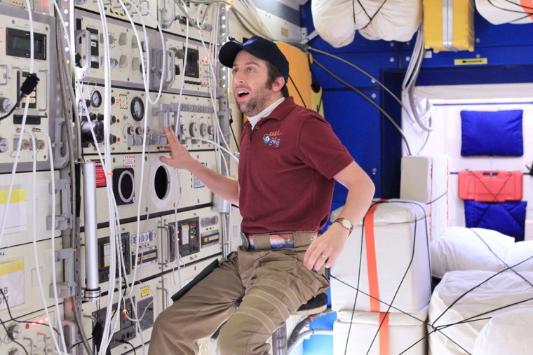 """Actor Simon Helberg, portraying Howard Wolowitz on CBS' """"The Big Bang Theory,"""" is seen """"floating"""" on the space station."""
