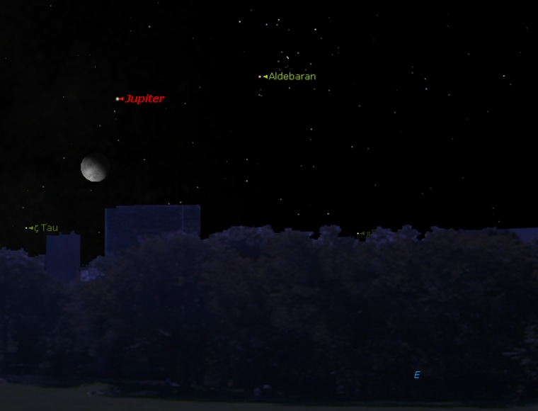 This sky chart shows the moon, the planet Jupiter and the bright star Aldebaran visible from the Northern Hemisphere on Thursday.