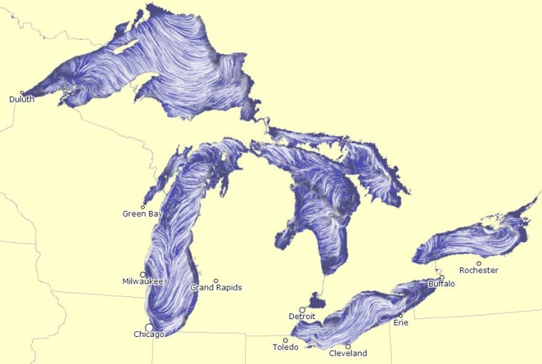 A screenshot, taken on Wednesday afternoon, of a new map that visualizes the surface currents on the Great Lakes.