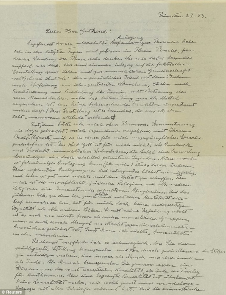 In a 1954 handwritten letter, Albert Einstein revealed his thoughts on God and religion. The original letter is going up for sale atauction on Monday.