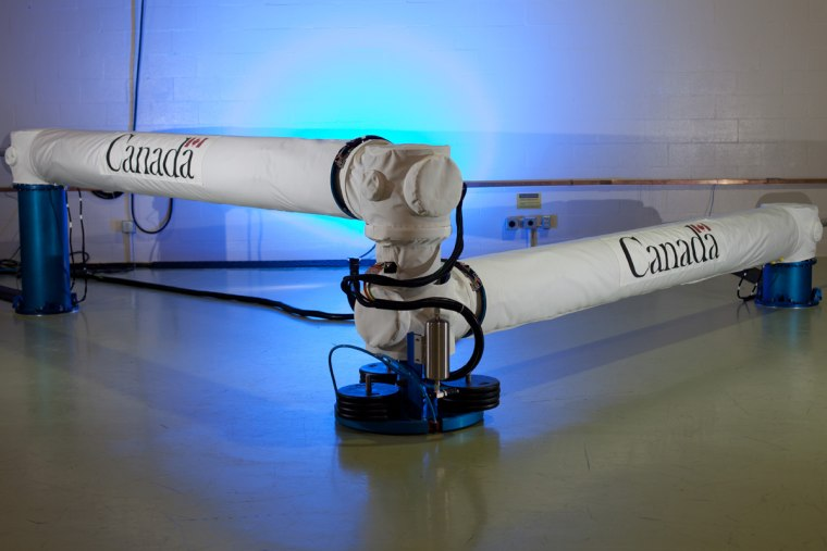 This 49-foot prototype of the Next-Generation Canadarm can compact to fit into a small spacecraft.