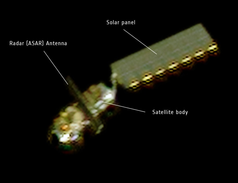 On April 15, the French space agency CNES rotated the Pleiades Earth observation satellite to capture this image of Envisat. At a distance of about 100 km, Envisat's main body, solar panel and radar antenna were visible.