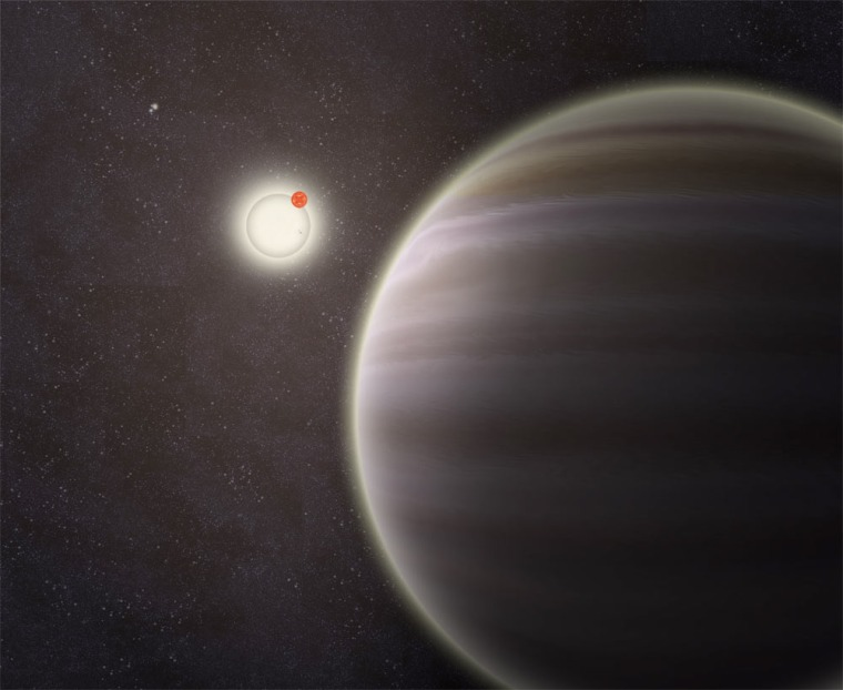 An artist's illustration of PH1, a circumbinary planet with two parent stars and two more stars orbiting the entire system; PH1 was discovered by volunteers from the Planet Hunters citizen science project.