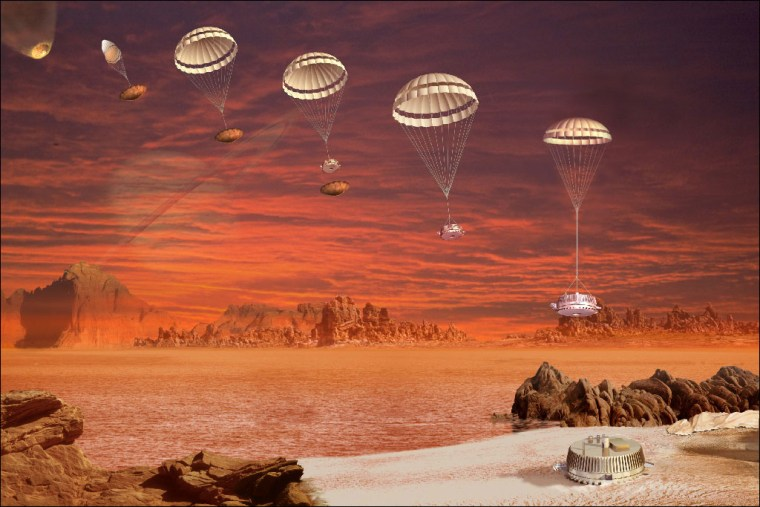 This image is an artist's impression of the descent and landing sequence followed by ESA's Huygens probe that landed on Titan. The Jan. 14, 2005 landing was the culmination of a 22-year process of planning, organizing and cooperation between ESA and NASA.
