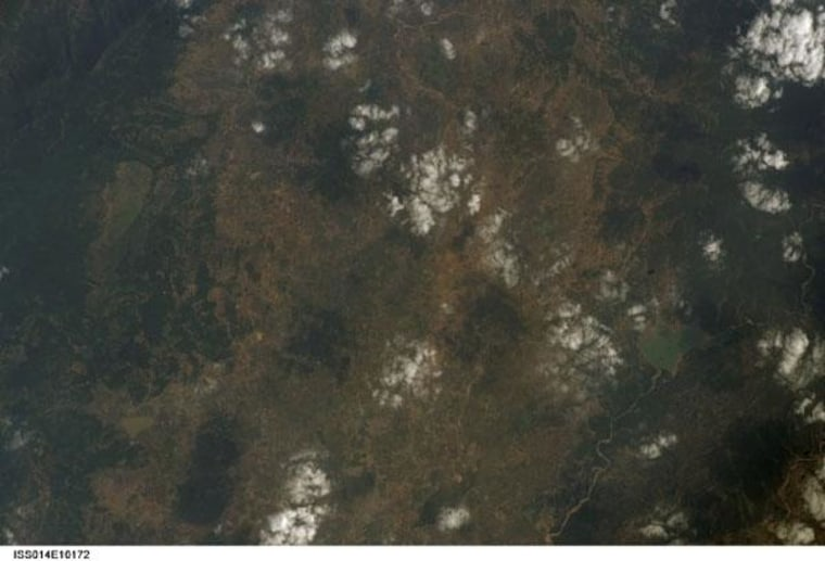 Deccan Traps flood basalts as seen by satellite from space.