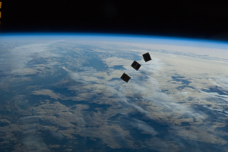 These satellites were released outside the Kibo laboratory using a Small Satellite Orbital Deployer attached to the Japanese module's robotic arm on Oct. 4. Japan Aerospace Exploration Agency astronaut Aki Hoshide, flight engineer, set up the satellite deployment gear inside the lab and placed it in the Kibo airlock.