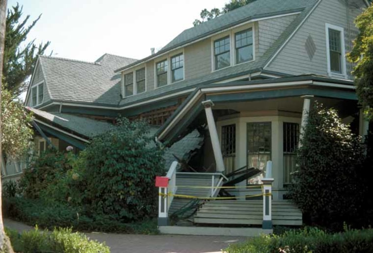 A house remains intact, though its porch collapsed, after the 1989 Loma Prieta earthquake in Northern California. Experts say it's safer to stay in place during a quake.