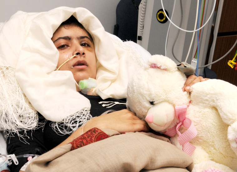 Image: Malala Yousufzai at the Queen Elizabeth Hospital in Birmingham in a picture released on October 19, 2012.
