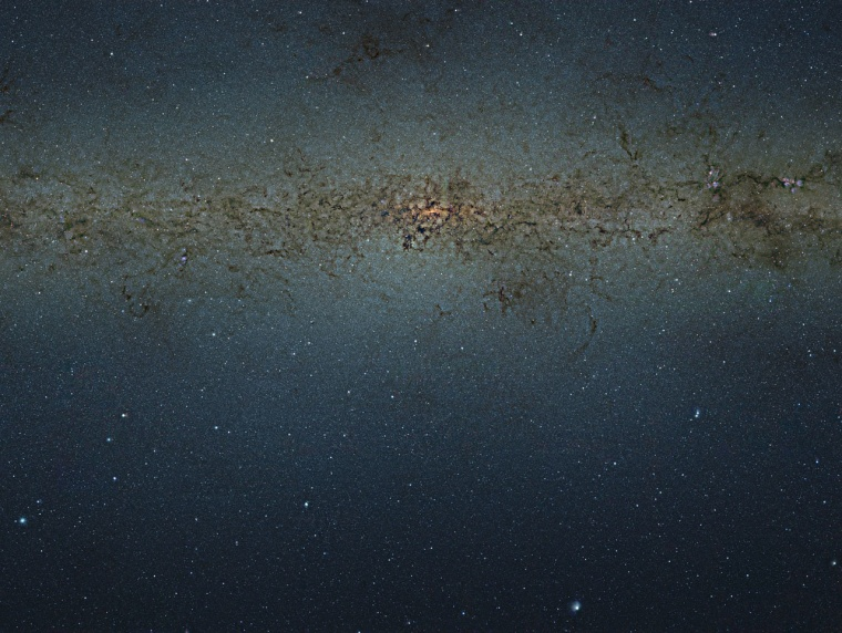This view of the central parts of the Milky Way was obtained with the VISTA survey telescope at ESO's Paranal Observatory in Chile. The huge picture contains nearly 9 billion pixels and was created by combining thousands of individual infrared images from VISTA into a single monumental mosaic. The image is too large to be easily displayed at full resolution.