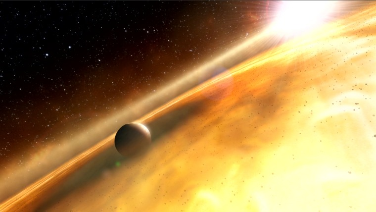 This artist's impression shows the huge exoplanet Fomalhaut b orbiting its sun, Fomalhaut. Fomalhaut b was once thought to be dead and buried.