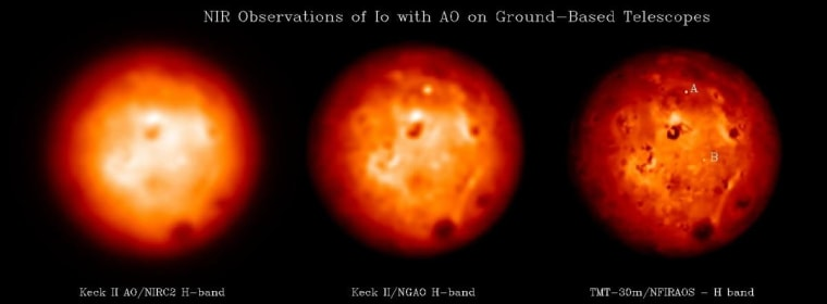 Simulation of observations of Io using the W.M. Keck telescope and its current AO system, a next-generation AO system mounted on the W.M. Telescope (KNGAO), and the Thirty Meter Telescope (TMT) equipped with its AO system.
