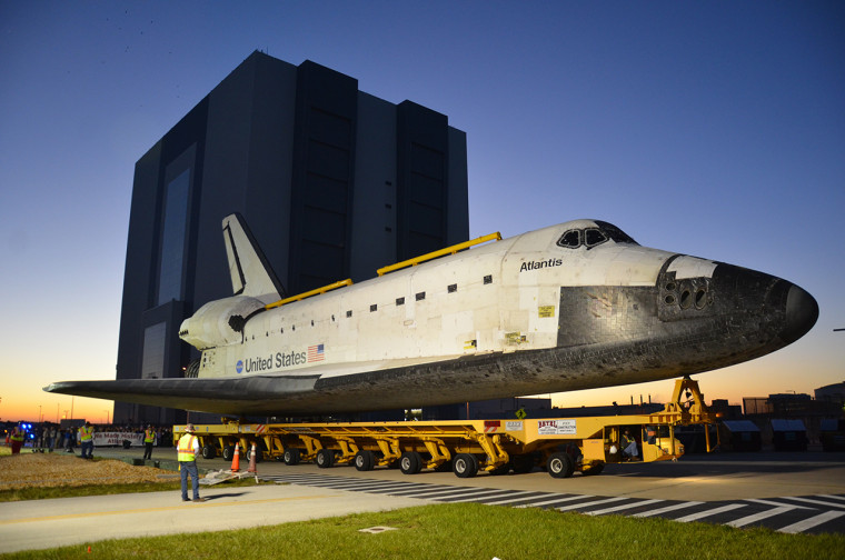 The space shuttle Atlantis leaves NASA's Vehicle Assembly Building for the last time.