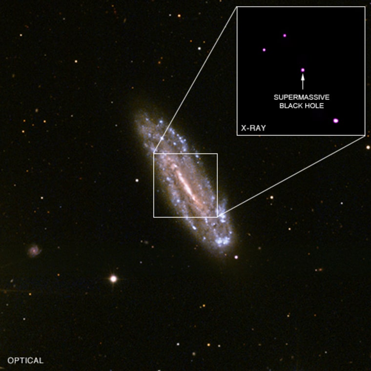 The black hole is located in the middle of the spiral galaxy NGC 4178, shown in this Sloan Digital Sky Survey image. The inset is a Chandra image showing an X-ray source at the position of the black hole.