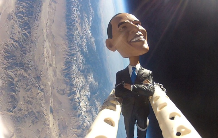 The students of the Earth to Sky project sent a bobblehead doll of President Barack Obama flying on a weather balloon over Owens Valley, Calif., on Monday, in honor of Election Day.