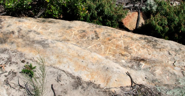 "Discovered on a sandstone outcrop, just south of a decommissioned quarantine station, this carving reads ""Rebecca will you marry me? Tim."" The station was in use for 150 years, but this inscription was etched within the past 10 years, archaeologists say."