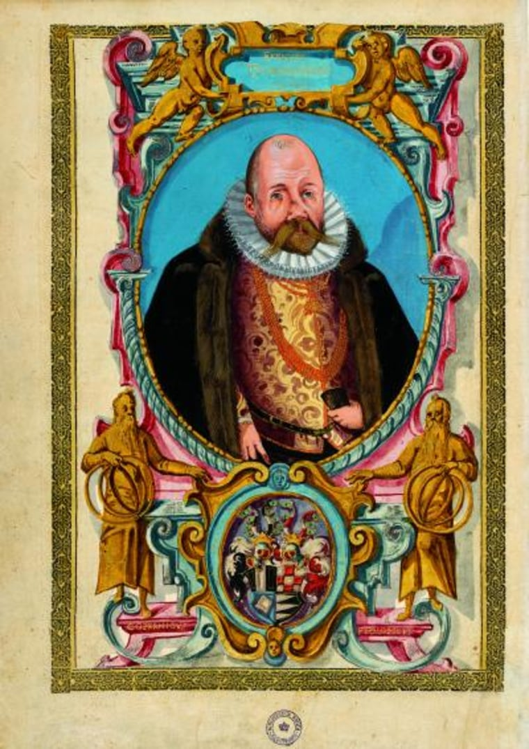 This is a watercolor of Tycho Brahe from around 1600 as he looked shortly before his death. His bushy mustache and slightly deformed nose with its prosthesis are visible. Both have been analyzed by the research team.