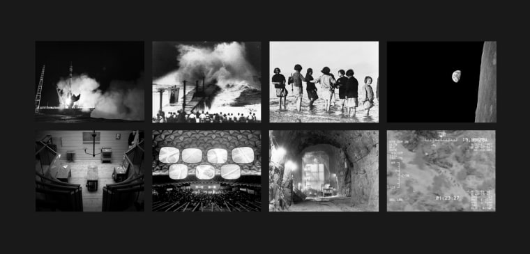 """""""The Last Pictures"""" montage. Top row (l to r): Soyuz FG Rocket Launch, Baikonur Cosmodrome, Kazakhstan; Typhoon, Japan, Early Twentieth Century; Greek and Armenian Orphan Refugees Experience the Sea for the First Time, Marathon, Greece; Earthrise. Bottom row: Old Operating Theater, St. Thomas Church, Southwark, London; Glimpses of America, American National Exhibition, Moscow World's Fair; Cheyenne Mountain, Colorado Springs, Colo.; Migrants Seen by Predator Drone, U.S.-Mexico Border."""