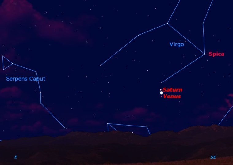 Look in the eastern sky just before sunrise this week for a close encounter between planets Saturn and Venus. They will be closest next Tuesday  when they will fit together in a low-power telescope field.