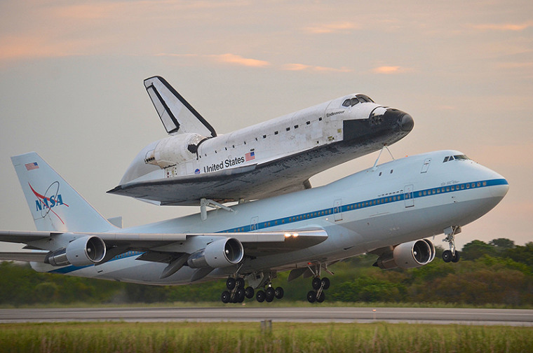 The 747 jetliner was seen by millions of people as it made its way from the Kennedy Space Center in Florida to California, where it performed a scenic flyover of the state with Endeavour riding piggyback.